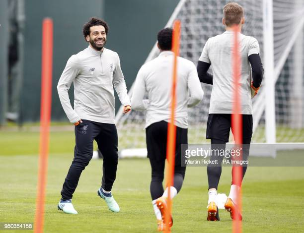Liverpool's Mohamed Salah with team mates during a training session at Melwood Training Ground Liverpool