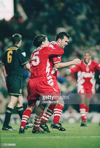 Liverpool's Neil Ruddock and Jamie Redknapp celebrate after Ruddock scores an equalizer against Manchester United at Anfield Liverpool 4th January...