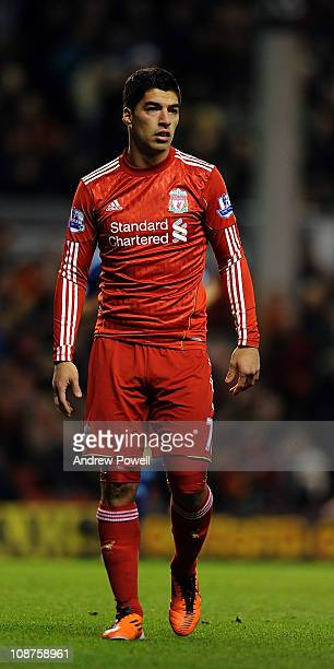 Liverpool's new signing Luis Suarez in action during the Barclays Premier League match between Liverpool and Stoke City at Anfield on February 2 2011...