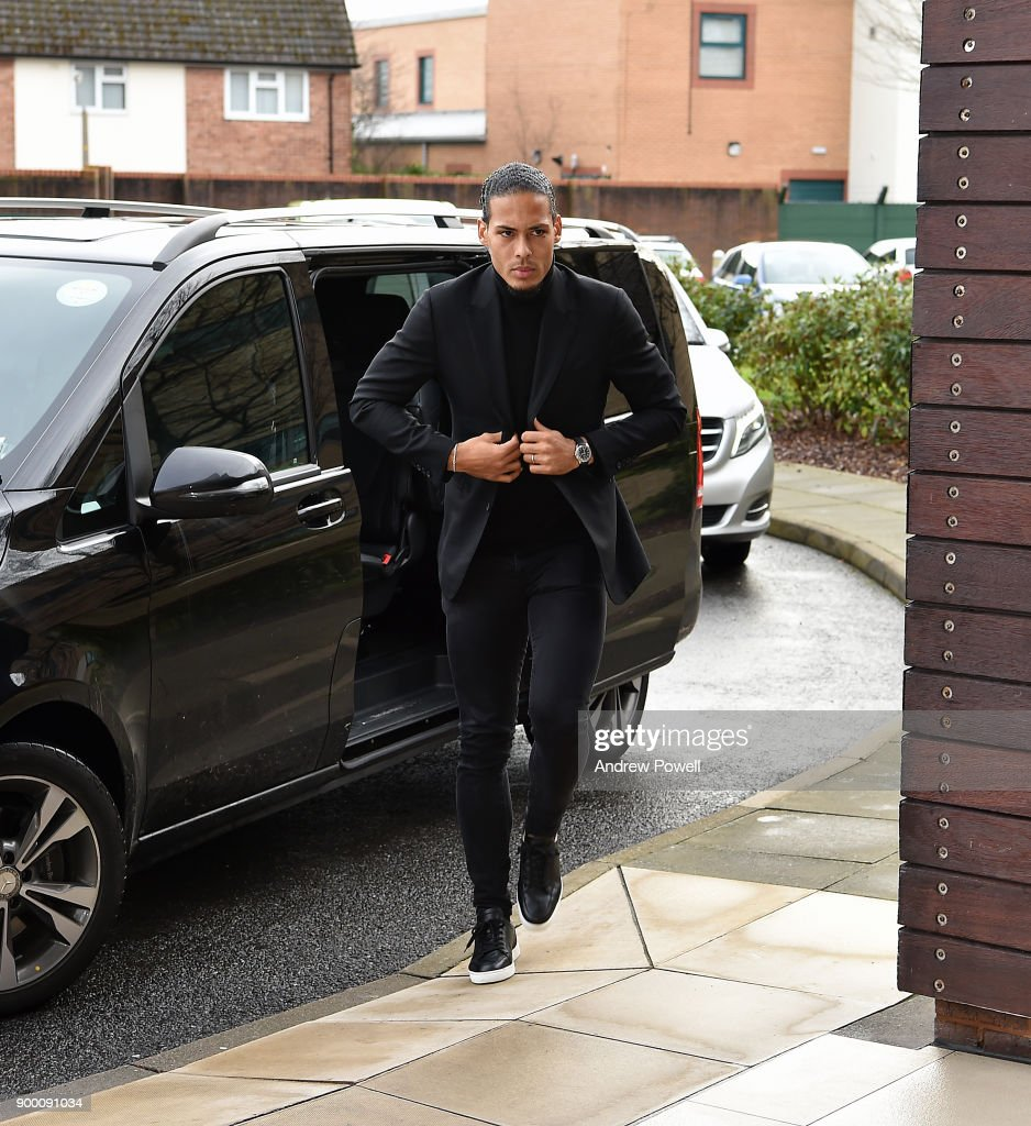 Liverpool's new signing Virgil van Dijk arrives at Melwood Training Ground on December 31, 2017 in Liverpool, England.