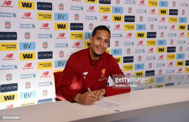 Liverpool's new signing Virgil van Dijk pictured at Melwood Training Ground on December 31 2017 in Liverpool England
