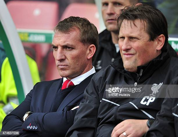 Liverpool's Northern Irish manager Brendan Rodgers looks on during the English Premier League football match between Stoke City and Liverpool at the...