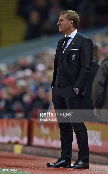 Liverpool's Northern Irish manager Brendan Rodgers looks on during the English League Cup third round football match between Liverpool and Carlisle...