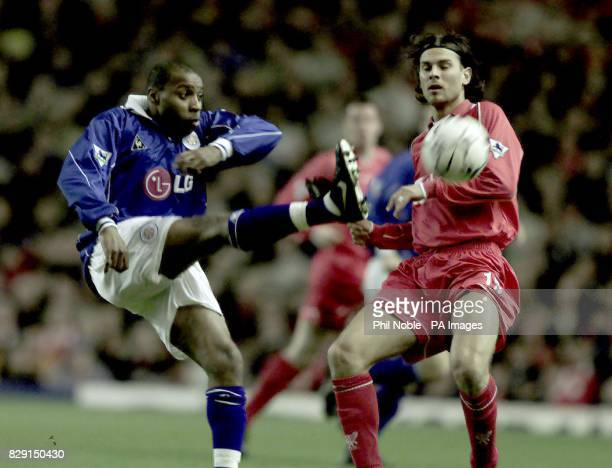 Liverpool's Patrick Berger right challenges Andy Impey of Leicester City for the ball during the Barclaycard Premier League match at Anfield THIS...