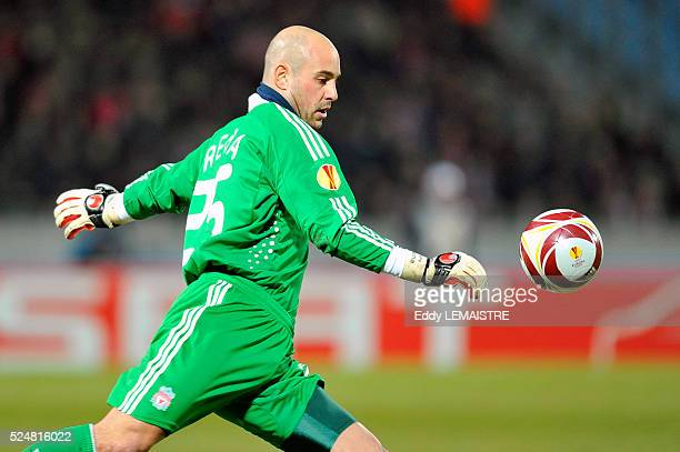 Liverpool's Pepe Reina during UEFA Europa League soccer match Lille vs Liverpool at the Stadium Nord of Villeneuve d'Ascq France on March 11th 2010...