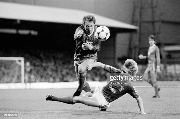 Liverpool's Phil Neal is fouled by Ipswich Town's Trevor Putney during their Division One match held at Portman Road Stadium Ipswich on 26th November...