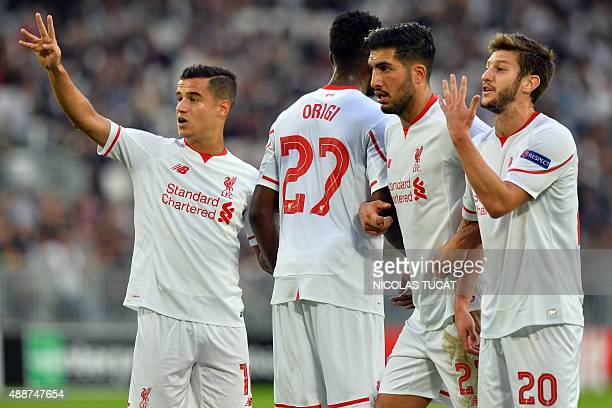 Liverpool's Philippe Couthino Divock Origi Emre Can and Adam Lallana react during the UEFA Europa League Group B football match Bordeaux vs Liverpool...