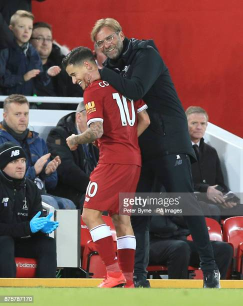 Liverpool's Philippe Coutinho and Liverpool manager Jurgen Klopp after he is substituted off during the Premier League match at Anfield Liverpool