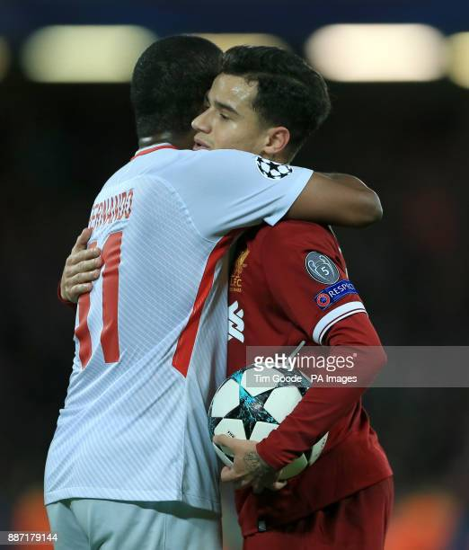 Liverpool's Philippe Coutinho and Spartak Moscow's Lucas Martins Fernando after the UEFA Champions League Group E match at Anfield Liverpool
