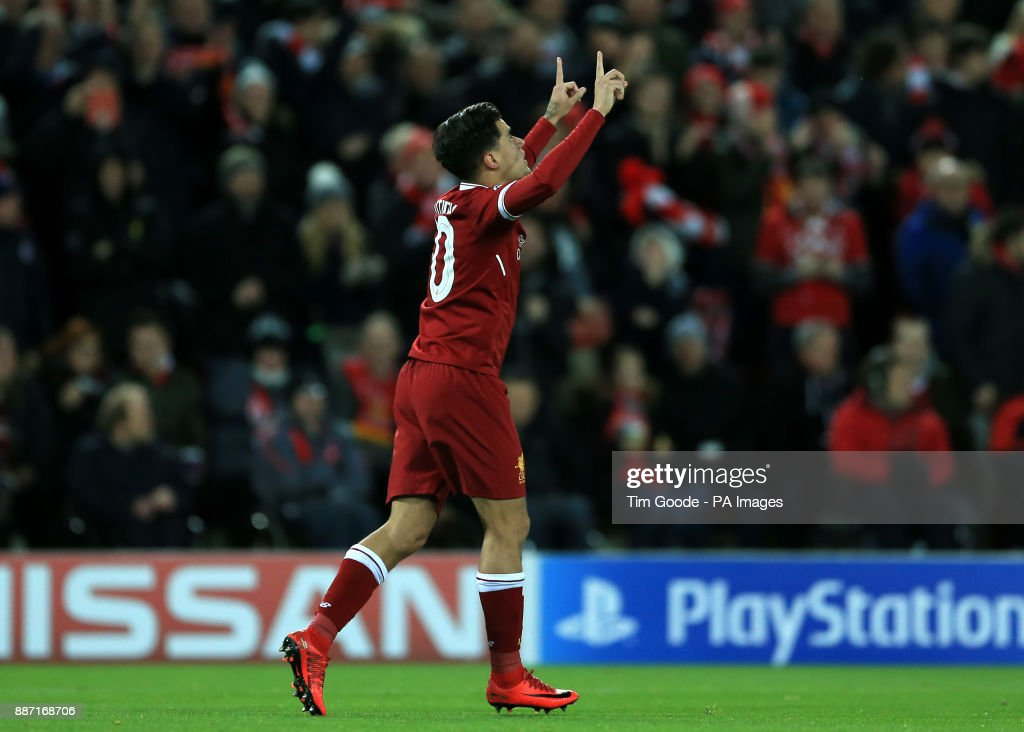 Liverpool's Philippe Coutinho celebrates scoring his sides fifth goal during the UEFA Champions League, Group E match at Anfield, Liverpool.
