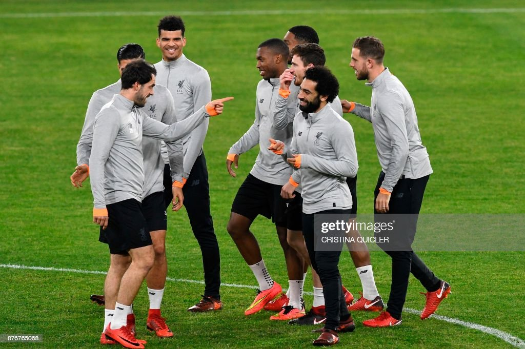 Liverpool's players take part in a training session at Ramon Sanchez Pizjuan stadium in Sevilla on November 20, 2017 on the eve of the UEFA Champions League group E football match between Sevilla and Liverpool. /