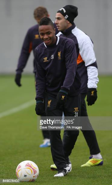 Liverpool's Raheem Sterling during a training session at Melwood Training Ground Liverpool