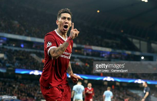 Liverpool's Roberto Firmino celebrates scoring his side's second goal during the UEFA Champions League QuarterFinal Second Leg match between...