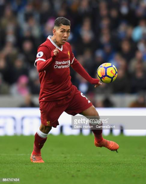 Liverpool's Roberto Firmino during the Premier League match between Brighton and Hove Albion and Liverpool at Amex Stadium on December 2 2017 in...