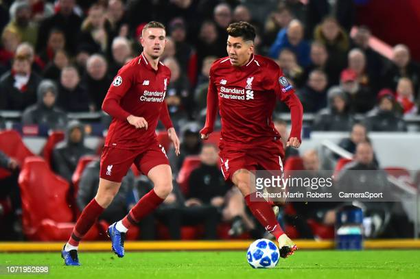 Liverpool's Roberto Firmino in action during the UEFA Champions League Group C match between Liverpool and SSC Napoli at Anfield on December 11 2018...
