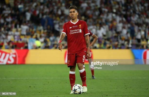 Liverpool's Roberto Firmino reacts during the final match of the Champions League between Real Madrid and Liverpool at the Olympic Stadium in Kiev...
