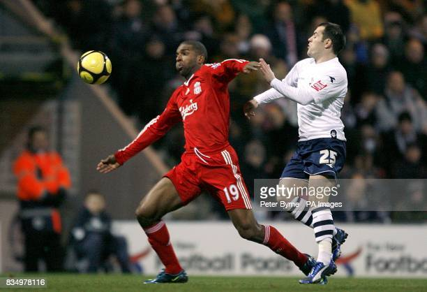 Liverpool's Ryan Babel and Preston North End's Ross Wallace battle for the ball