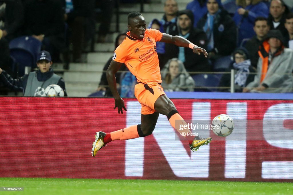 Liverpool's Sadio Mane in action against Fc porto , during during round of 16 UEFA Champions League, first leg soccer match, Fc Porto - Liverpool Fc held at Estadio Dragao on February 14, 2018 in Porto,Portugal.