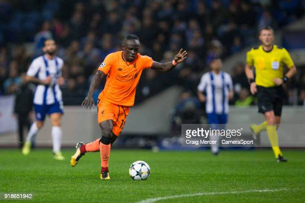 Liverpool's Sadio Mane scores his side's fifth goal and his own hattrick goal during the UEFA Champions League Round of 16 First Leg match between FC...