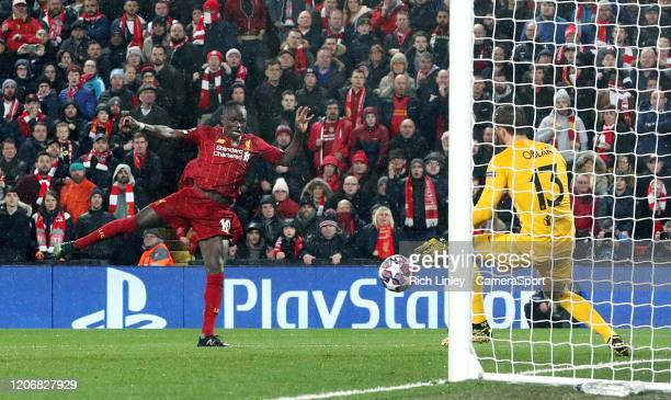 Liverpool's Sadio Mane sees his early second half closerange effort saved by Atletico Madrid's Jan Oblak during the UEFA Champions League round of 16...