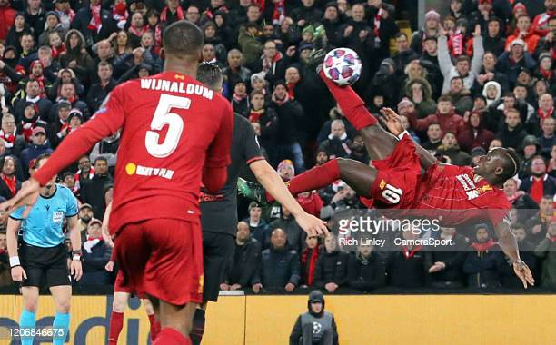 Liverpool's Sadio Mane with an acrobatic effort on goal during the UEFA Champions League round of 16 second leg match between Liverpool FC and...