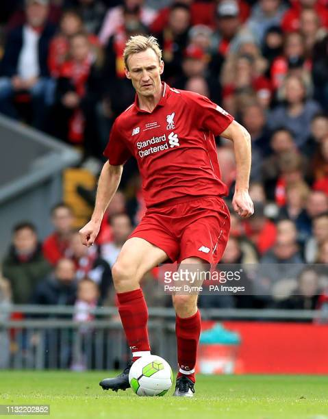 Liverpool's Sami Hyypia during the Legends match at Anfield Stadium Liverpool