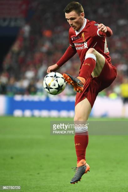 Liverpool's Scottish defender Andrew Robertson controls the ball during the UEFA Champions League final football match between Liverpool and Real...