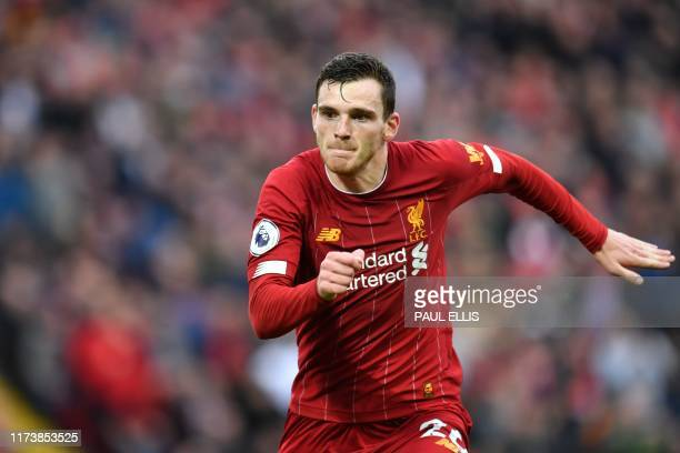 Liverpool's Scottish defender Andrew Robertson in action during the English Premier League football match between Liverpool and Leicester City at...