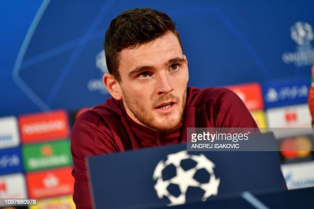Liverpool's Scottish defender Andrew Robertson looks on as he attends a Liverpool team press conference at the Rajko Mitic stadium in Belgrade on...