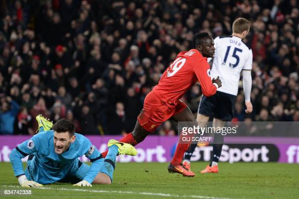 Liverpool's Senegalese midfielder Sadio Mane celebrates after scoring the opening goal of the English Premier League football match between Liverpool...