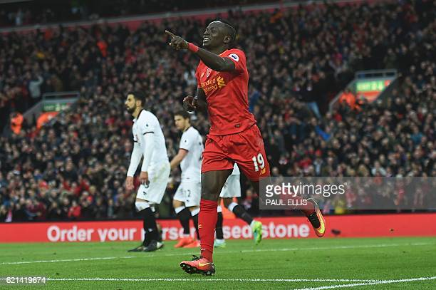 Liverpool's Senegalese midfielder Sadio Mane celebrates scoring his team's fifth goal during the English Premier League football match between...