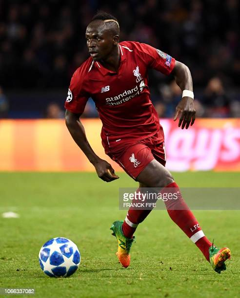 Liverpool's Senegalese midfielder Sadio Mane plays the ball during the UEFA Champions League Group C football match between Paris SaintGermain and...
