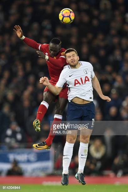 Liverpool's Senegalese midfielder Sadio Mane vies with Tottenham Hotspur's English defender Eric Dier during the English Premier League football...