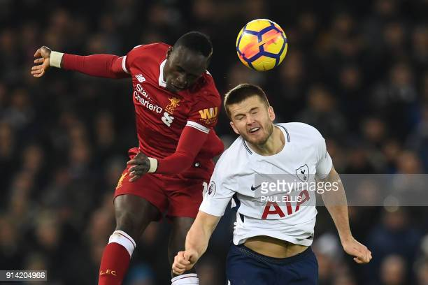 Liverpool's Senegalese midfielder Sadio Mane vies with Tottenham Hotspur's English defender Eric Dier during the English Premier League football...