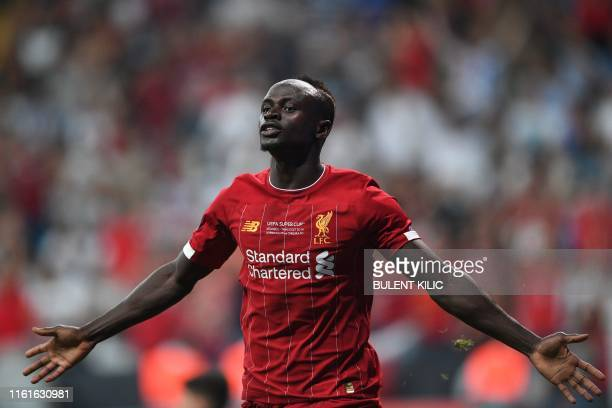Liverpool's Senegalese striker Sadio Mane celebrates after scoring a goal during the UEFA Super Cup 2019 football match between FC Liverpool and FC...