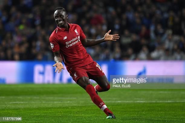 Liverpool's Senegalese striker Sadio Mane celebrates his goal during the UEFA Champions League quarter-final second leg football match between FC...