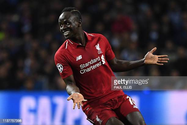 Liverpool's Senegalese striker Sadio Mane celebrates his goal during the UEFA Champions League quarterfinal second leg football match between FC...