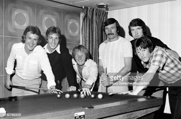 Liverpool's six full-backs competing for space at the pool table in Liverpool, England, circa August 1975. Left-right: Phil Neal, Joey Jones, Alec...
