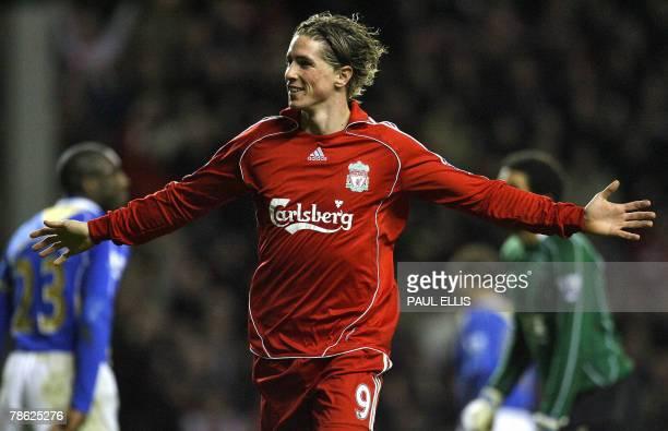 Liverpool's Spanish forward Fernando Torres celebrates scoring against Portsmouth during their English Premiership football match 22 December 2007 at...