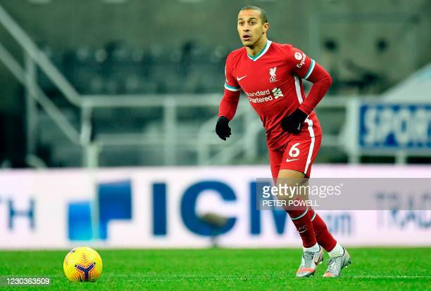 Liverpool's Spanish midfielder Thiago Alcantara during the English Premier League football match between Newcastle United and Liverpool at St James'...