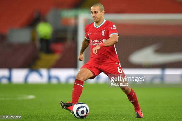 Liverpool's Spanish midfielder Thiago Alcantara looks to play a pass during the English Premier League football match between Liverpool and Everton...