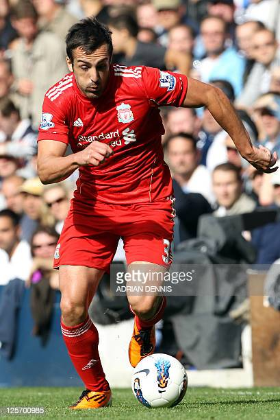 Liverpool's Spanish player Jose Enrique during the Premiership match against Tottenham Hotspurs' at White Hart Lane in London on September 18, 2011....