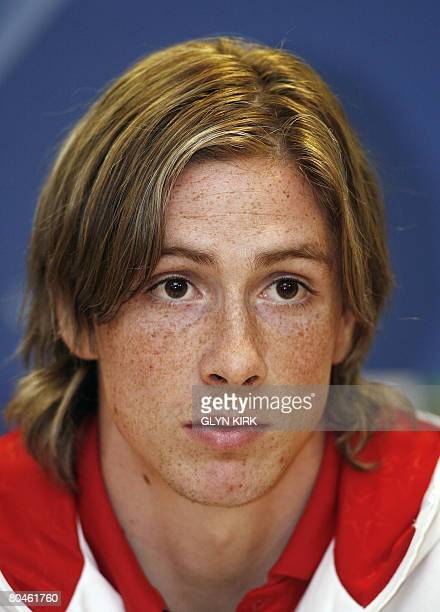 Liverpool's Spanish striker Fernando Torres gives a press conference for the forthcoming UEFA Champions League quarter final first leg match against...
