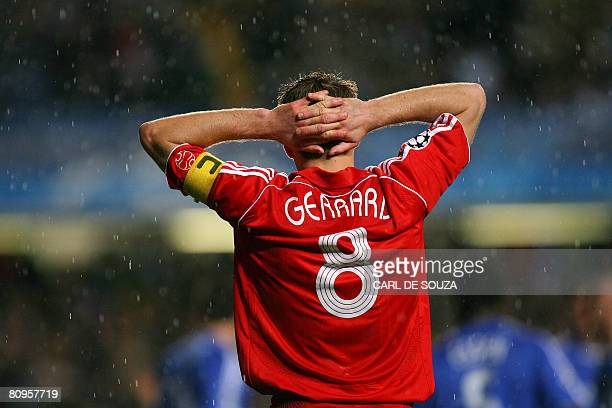 Liverpool's Steve Gerrard is pictured after his team lost to Chelsea during a UEFA Champions League semifinal game at Stamford Bridge in London on...