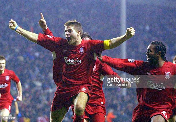 Liverpool's Steven Gerard celebrates scoring to make it 3-1 against Olympiacos CFP during their UEFA Champions League clash at Anfield, Liverpool, 08...