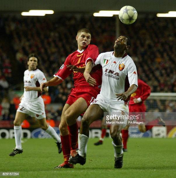 Liverpool's Steven Gerrard battles with AS Roma's Aldair during the UEFA Champion's League Group B match at Anfield THIS PICTURE CAN ONLY BE USED...