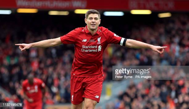 Liverpool's Steven Gerrard celebrates scoring his side's third goal of the game during the Legends match at Anfield Stadium Liverpool