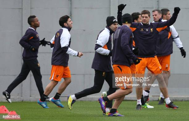 Liverpool's Steven Gerrard during a training session at Melwood Training Ground Liverpool
