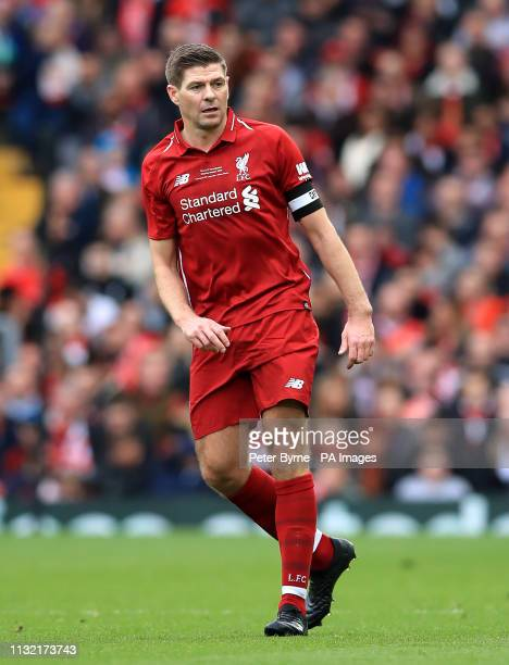 Liverpool's Steven Gerrard during the Legends match at Anfield Stadium Liverpool
