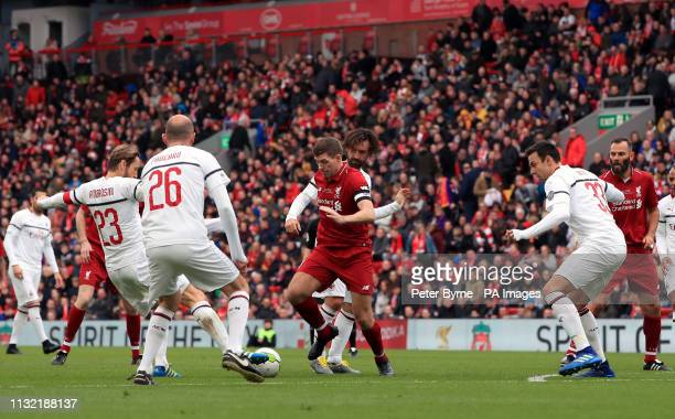 Liverpool's Steven Gerrard in action during the Legends match at Anfield Stadium Liverpool